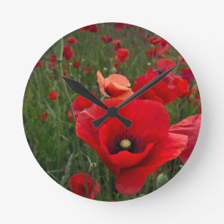 Red Poppies Wall Clock