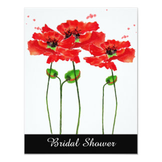 Red Poppies Watercolor Bridal Shower Invitation