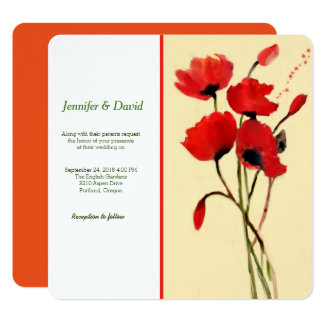 Red Poppies Watercolor Custom Wedding Invitation