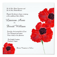 Red Poppies Watercolor Custom Wedding Invitation