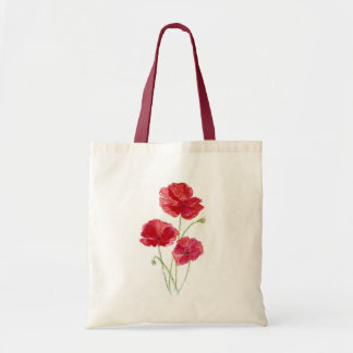 Red Poppies - Watercolor Tote Bag
