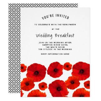 Red Poppies Wedding Breakfast Invitation