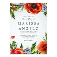 Red Poppies Wedding Invitation