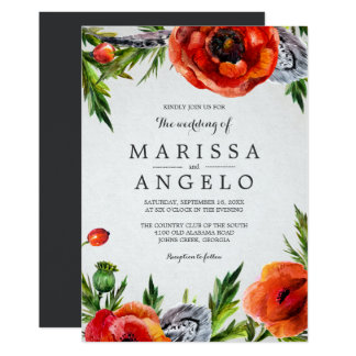Red Poppies Wedding Invitation / Gray Back