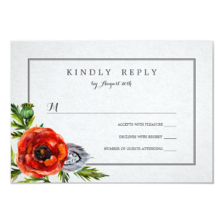 Red Poppies Wedding RSVP Card
