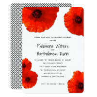 Red Poppies White n Black Wedding Invitations