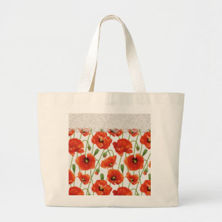 Red Poppies with Lace Trim Large Tote Bag