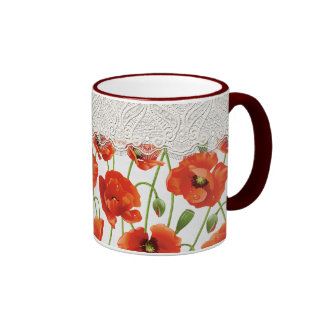 Red Poppies with Lace Trim Ringer Coffee Mug