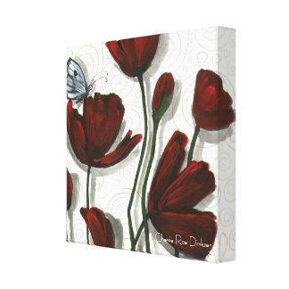 Red Poppies with White Butterfly Canvas Print