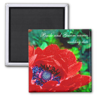 Red Poppy 2 Inch Square Magnet