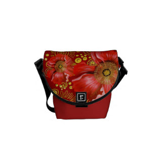 Red Poppy and Gold Spirals Messenger Bag
