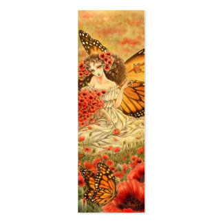 Red Poppy and Monarch Fantasy Bookmark Business Card Templates