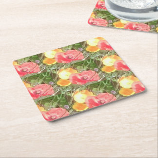 Red Poppy and Yellow Flower Photo Coasters