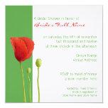 "Red Poppy apple Bridal Shower Invitation 5.25"" Square Invitation Card"