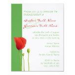 "Red Poppy apple Engagement Invitation 4.25"" X 5.5"" Invitation Card"