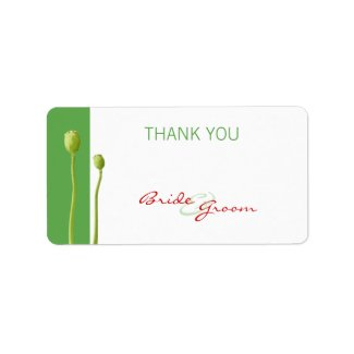 Red Poppy apple Thank You Gift Sticker label