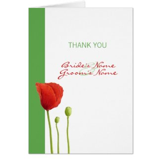 Red Poppy apple Thank You Note Card card