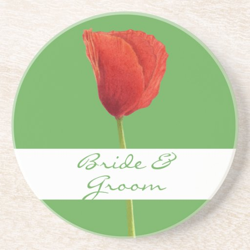 Red Poppy apple Wedding Coaster