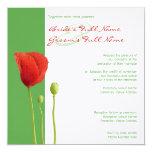 "Red Poppy apple Wedding Invitation 5.25"" Square Invitation Card"