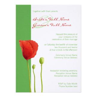 Red Poppy apple Wedding Invitation 2