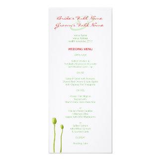 Red Poppy apple Wedding Menu Card