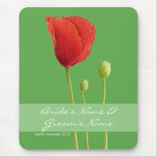 Red Poppy apple Wedding Mousepad