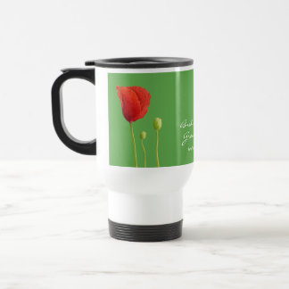 Red Poppy apple Wedding Travel Mug