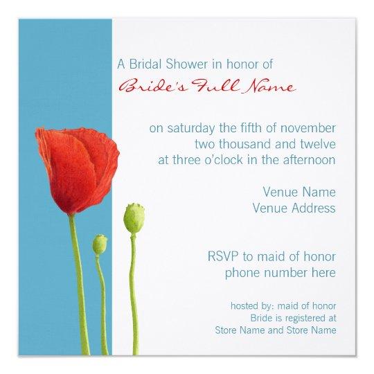 Red Poppy aqua Bridal Shower Invitation