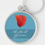 Red Poppy aqua Premium Keychain