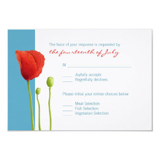 Red Poppy aqua RSVP Card
