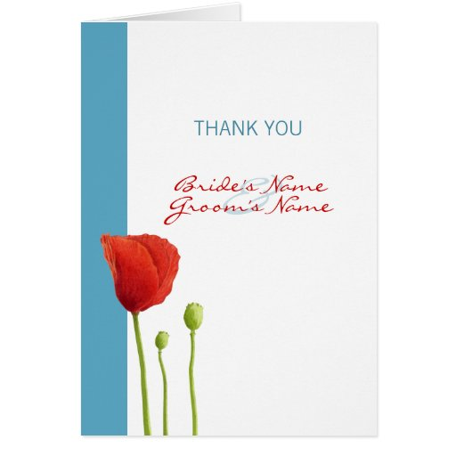 Red Poppy aqua Thank You Note Card