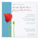 "Red Poppy aqua Wedding Invitation 5.25"" Square Invitation Card"
