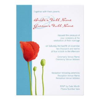 Red Poppy aqua Wedding Invitation 2