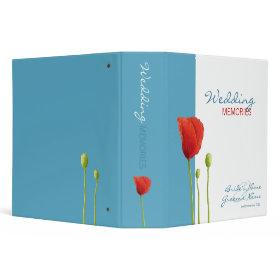 Red Poppy aqua Wedding Memories Binder binder