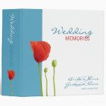 Red Poppy aqua Wedding Memories Binder