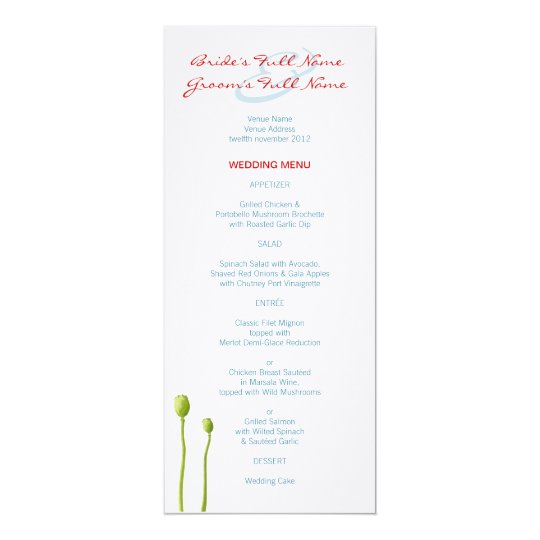 Red Poppy aqua Wedding Menu Card