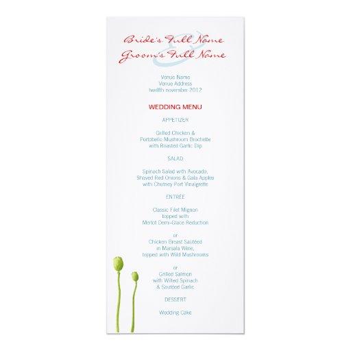 """Red Poppy aqua Wedding Menu 4"""" X 9.25"""" Invitation Card"""