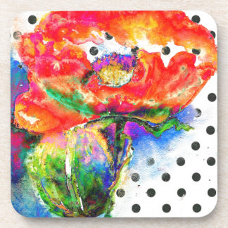 Red  Poppy -black and white polka-dots Drink Coaster