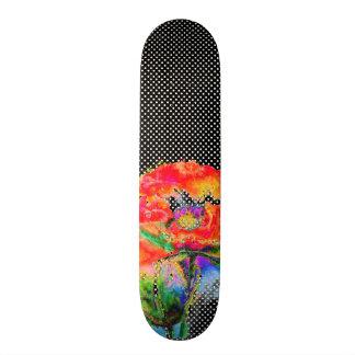 Red Poppy black and white polkadots Skateboard