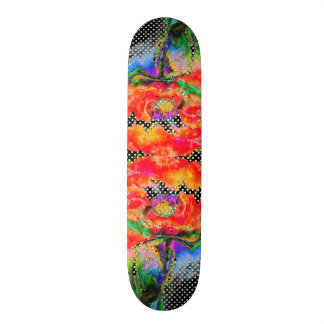 Red Poppy black and white polkadots Skateboard Deck
