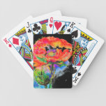 Red Poppy -black Bicycle Poker Deck