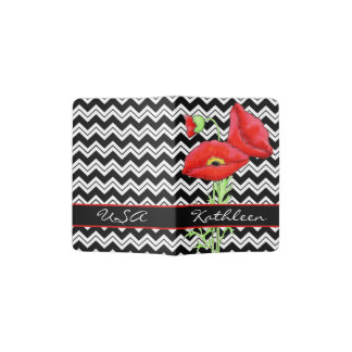 Red Poppy Black White Chevron Name Personalized Passport Holder