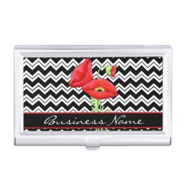 Professional Business Red Poppy Black White Chevron Zizzag Custom Business Card Holder