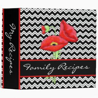 Red Poppy Black & White Chevron Zizzag Customized Vinyl Binder