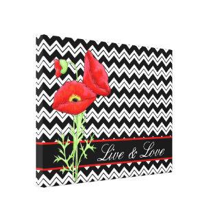 Red Poppy Black White Chevron Zizzag Live & Love Canvas Print