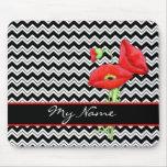 Red Poppy Black & White Personalize Chevron Zizzag Mouse Pad