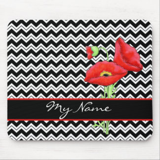 Red Poppy Black & White Personalize Chevron Zizzag Mouse Pad