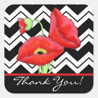 Red Poppy Black & White Thank You Chevron Zizzag Square Sticker