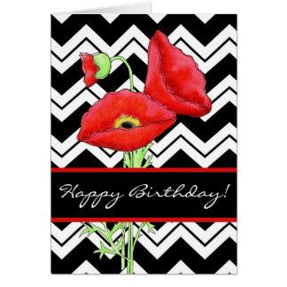 Red Poppy Black & White Zizzag Chevron Birthday Greeting Card