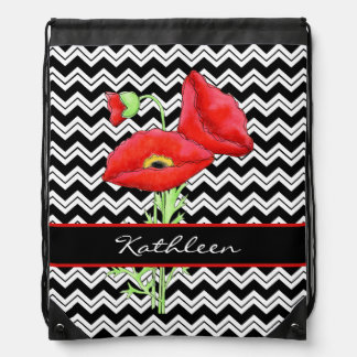 Red Poppy Black White Zizzag Chevron Custom Name Backpacks